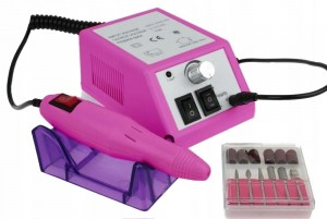 Frezarka do manicure POWER298 + komplet frezów - Fuksja